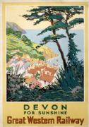 Devon for Sunshine, Vintage Great Western Railway Travel Poster by S I Veale